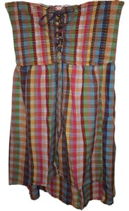 Band of Gypsies short dress Multi Strapless High Low Spring Cotton Checkered on Tradesy