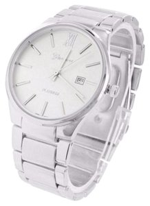 Geneva Mens Date Display Set White Dial Silver Tone Metal Band Watch Jojo Rodeo Jojino