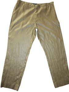 Ralph Lauren Boot Cut Pants Shiny Gold
