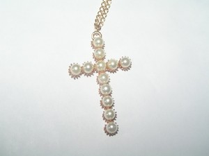 Gold Tone White Pearl Cross Necklace Free Shipping