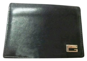 Gucci GUCCI G Motif Black Leather Card Case Passcase Bifold wallet
