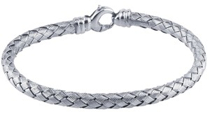 Sterling Silver Rhodium-Plated Braided Bracelet