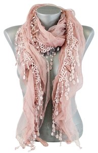 Lace Accent Boho Chic Pink Blush Scarf