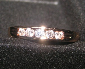 5 Stone Gold Filled White Topaz Band Ring Free Shipping