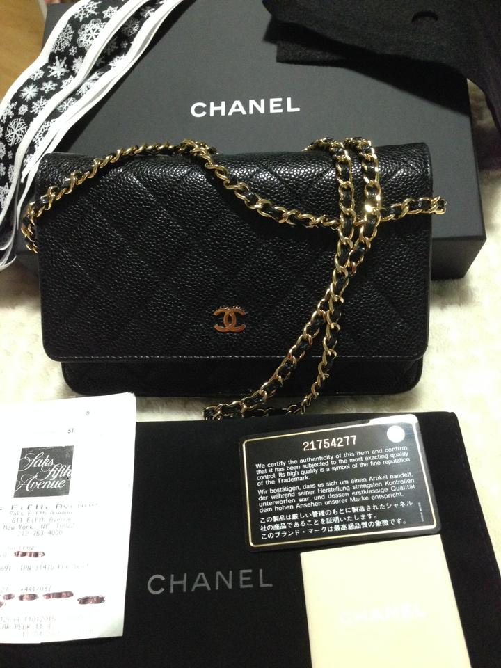 c0191fa8364198 Chanel Wallet on Chain Receipt Complete. Gold Black Caviar Leather Cross  Body Bag