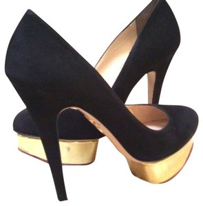 Charlotte Olympia Black Suede Platforms
