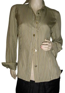 Dana Buchman Button Down Shirt beige & black