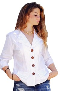 Lirome Spring Organic Casual Resort Embroidered White Jacket