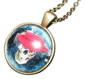 Dressed Up Skull Glass Cabochon Pendant Necklace Free Shipping