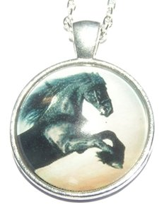 Other Stunning Black Horse Glass Cabochon Necklace Free Shipping