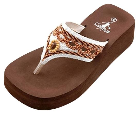 Corkys Flip Flop Weave Size 9 Brown and White Sandals
