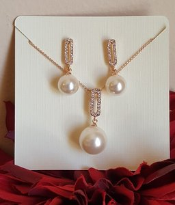 Bridal Rose Gold Pearl Drop Necklace Set