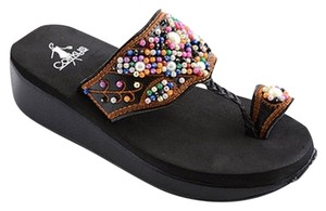 Corkys Beaded Aztec Flip Flop Size 9 Black Sandals