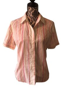 Jones New York Button Down Shirt Pink, peach, green & white