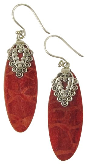 Island Silversmith Island Silversmith Genuine Red Coral 925 Sterling Silver Wafer Earrings 0501I *FREE SHIPPING*