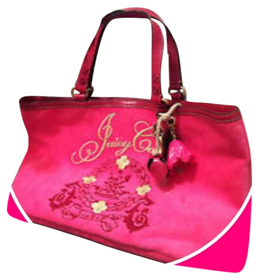 juicy couture paisley floral velour leather hot pink tote bag on sale 21 off totes on sale. Black Bedroom Furniture Sets. Home Design Ideas