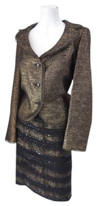 Escada ESCADA Couture Black & Gold Elegant Lace & Beading Skirt Suit Size 42