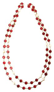 Chanel Ruby Red Crystal and Pearl Gold Plated Necklace, Sautoir