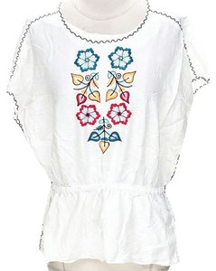 Nicole Miller Embroidered Silk Top