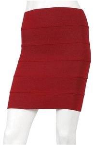 Pleasure Doing Business Banded Red Mini Mini Skirt Burgundy