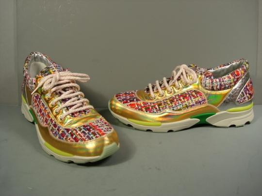 Chanel Leather & Tweed Tweed Sneaker Or Tennis Silver Gold Multicolor Athletic