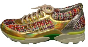Chanel Leather & Tweed & Silver Gold Multicolor Athletic