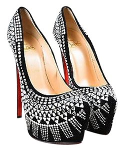 Christian Louboutin Suede Jeweled Decora 160 Platform Black Pumps