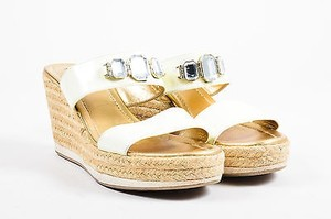 Prada Sport Cream Patent White Sandals