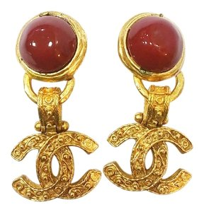 Chanel Vintage Chanel 18K Gold Plated CC Red Stone Dangle Clip on Earrings