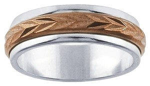 Other Sterling Silver and Copper 5.8mm Spinner Diamond-Cut Band Ring