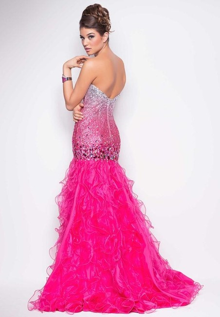Blush Ruffles Long Prom Silver Beaded Glitter Dress