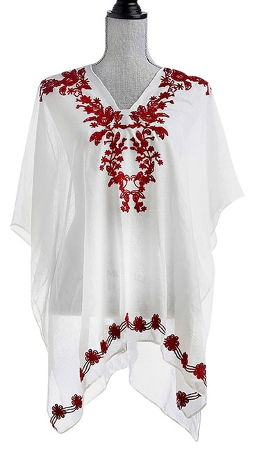 Preload https://img-static.tradesy.com/item/14140438/white-burgundy-vine-poncho-coverup-beach-pool-dress-shirt-tunic-size-os-one-size-0-1-650-650.jpg