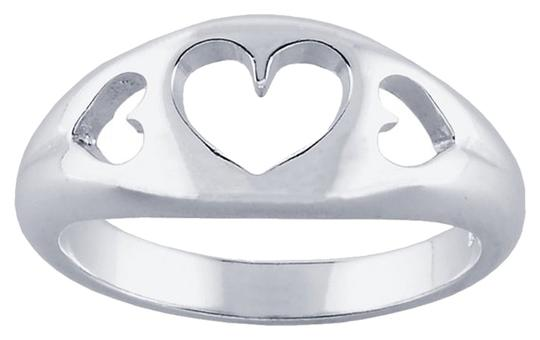 Other Sterling Silver Tapered 3-Hearts Cut-Out Ring