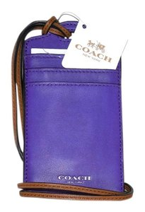 Coach Coach Madison Purple Iris Leather Lanyard Badge ID Card Holder NWT 62603