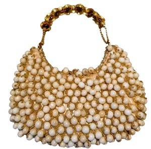Clara Kasavina Evening Beaded Embellished Embellished Formal Ivory/Gold Clutch