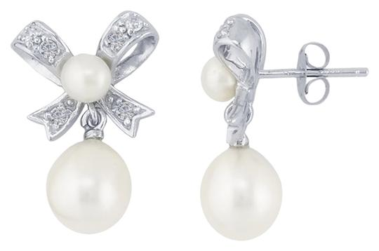 Other Sterling Silver CZ-Set Bow Post Earrings with Freshwater Pearls