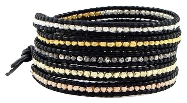 Item - Multicolor Black Leather and Multi-metal Wrap Bracelet
