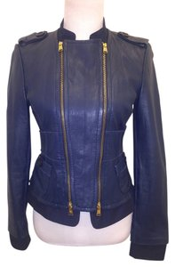 BCBGMAXAZRIA Leather Navy Blue Leather Jacket