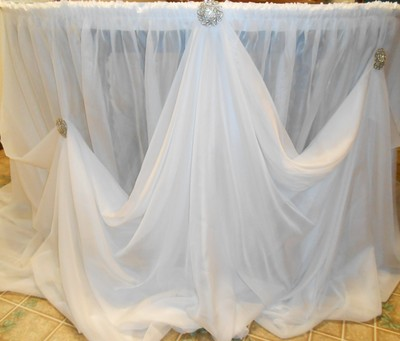 20 Foot Custom Made Cinderella Draped Table Skirt With