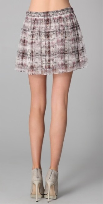 Theory Theyskens Pleated Silk Organza Cheeta Accordian Mini Skirt Multi