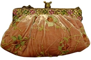 Clara Kasavina Velvet Embellished Jewelled Evening Pink/Green Clutch