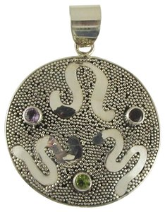 Island Silversmith Island Silversmith Hand-worked 925 Sterling Silver Multi-stone Pendant 0501D *FREE SHIPPING*
