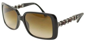 Chanel Authentic Chanel Black Frame & Leather with Silver-Tone Gradient Lenses Sunglasses