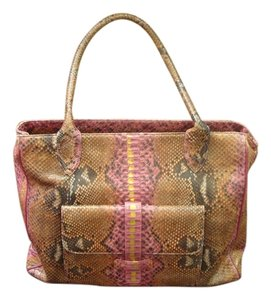 Clever Carriage Company Snakeskin Rare Tote in Pink