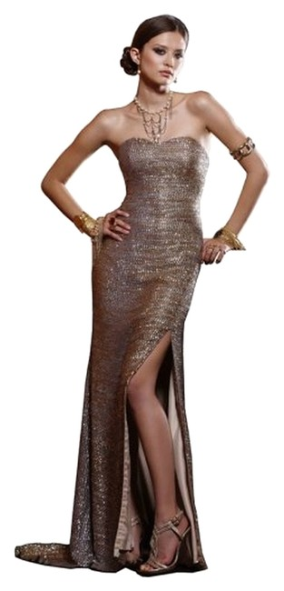 BG Haute Forma Glitter Sequins Slit Strapless Dress