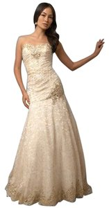 Jovani Ivory Sequins Lace Dress