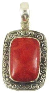 Island Silversmith Island Silversmith Red Coral .925 Sterling Silver Tribal Pendant 0501C *FREE SHIPPING*