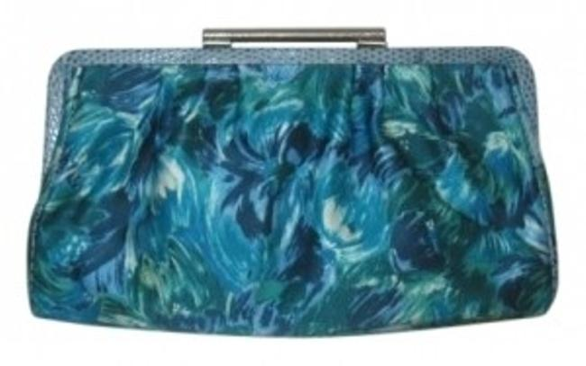Item - Turquoise/Multi Cotton Trimed In Detailed Leather Clutch