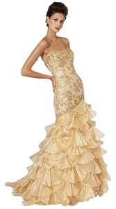 Rina di Montella Strapless Ruffle Beaded Dress