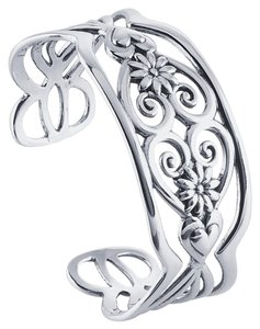 Other Sterling Silver Filigree Heart Cuff Bracelet